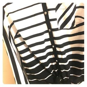 STYLE & CO. black and white striped button down